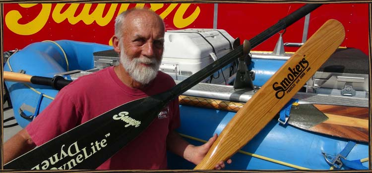 Bruce with his innovations, SquareTop Oars, Cobra Oar Locks and Smoker Oars